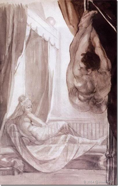 Brunhilde Observing Gunther, Whom She Has Tied to the Ceiling - 1807