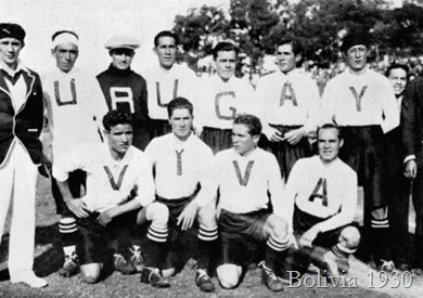 A frankly embarrasing effort. The 1930 Bolivia team's kits spelt out 'Viva Uruguay' in honour of the host nation