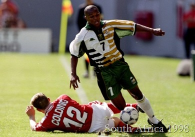 Quinton Fortune of South Africa in this rather confused kit from the 1998 World Cup