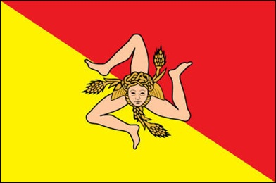 03 The Sicilian flag bears three legs in the shape of a triskelion which is supposed to represent the three corners of the island.