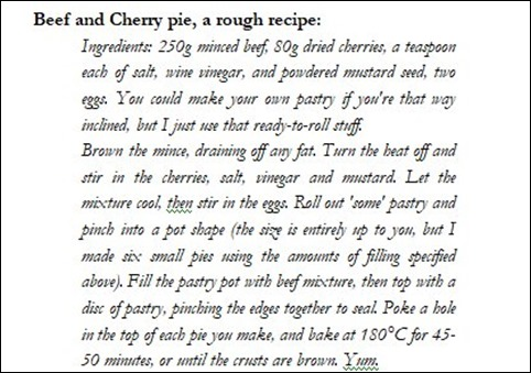 R Beef & cherry pie
