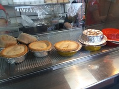 In this photo there are 9 pies, 4 of them upside down.